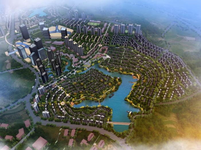 重庆山地别墅+洋房+高层概念规划设计方案-鸟瞰图