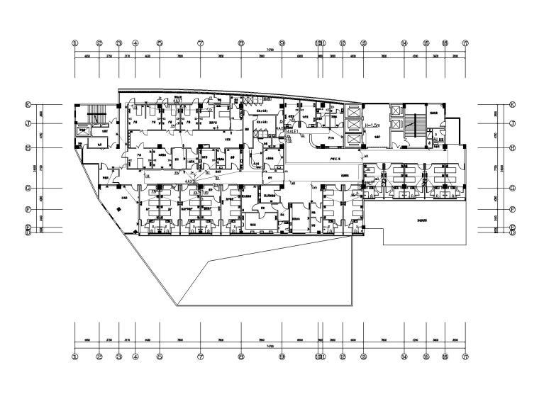 [福建]县医院病房大楼电气施工图(强弱电)-2插座平面图