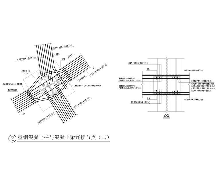 型钢混凝土梁柱连接节点详图(CAD)-型钢混凝土柱与混凝土梁连接节点