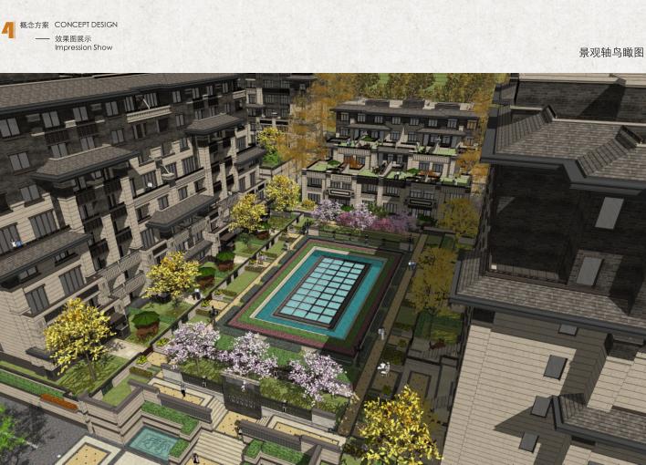 承德元宝山新中式山地叠拼别墅规划设计方案-景观轴鸟瞰图