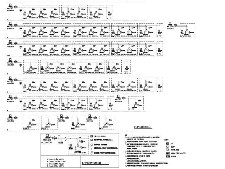 [福建]县医院病房大楼电气施工图(强弱电)-7护士呼叫系统图