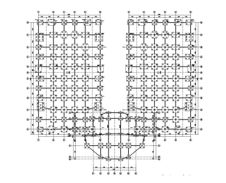 上海金融中心全套施工图(建筑结构水暖电)-D1D2楼基础接地平面图