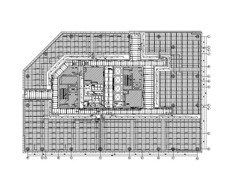 上海虹桥商务区电气装饰深化设计图(2017)-A楼四层照明平面图
