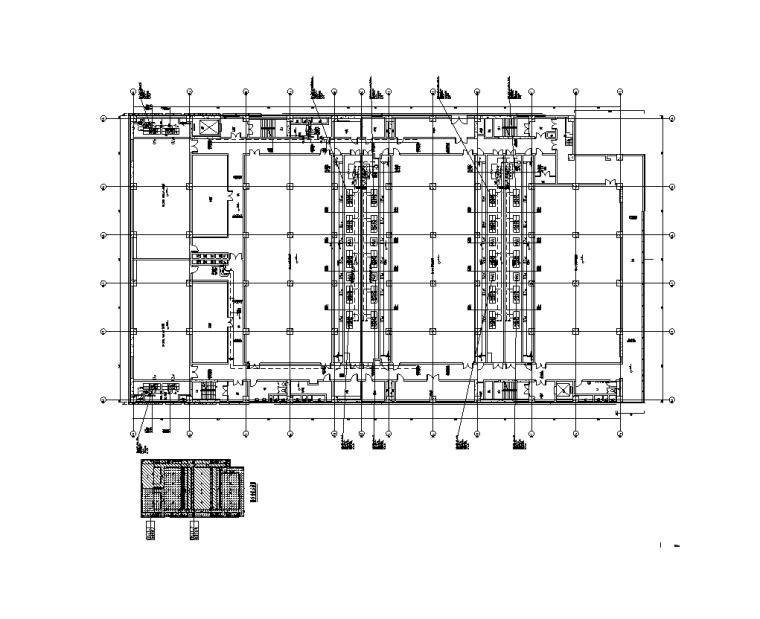 上海金融中心全套施工图(建筑结构水暖电)-D1楼四层空调B路水管平面布置图