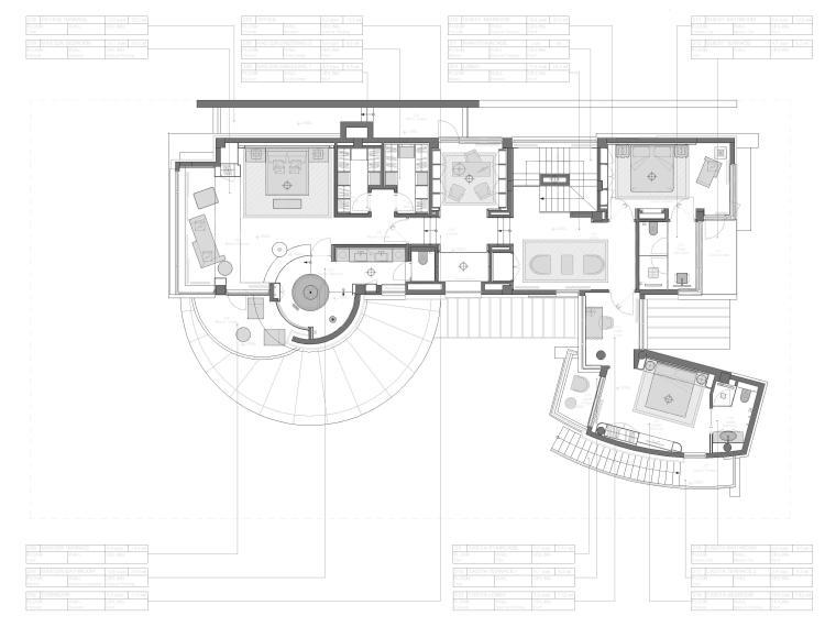 [成都]麓湖生态城二层四居别墅样板间施工图-二层平面布置图