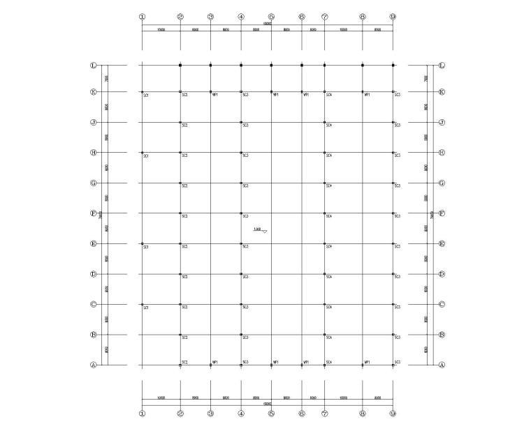 多跨钢结构门刚厂房结构施工图CAD-钢柱平面布置图