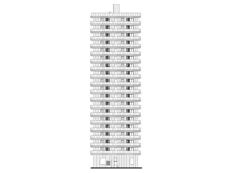 上海船厂十九层高层住宅建筑施工图2017-立面图