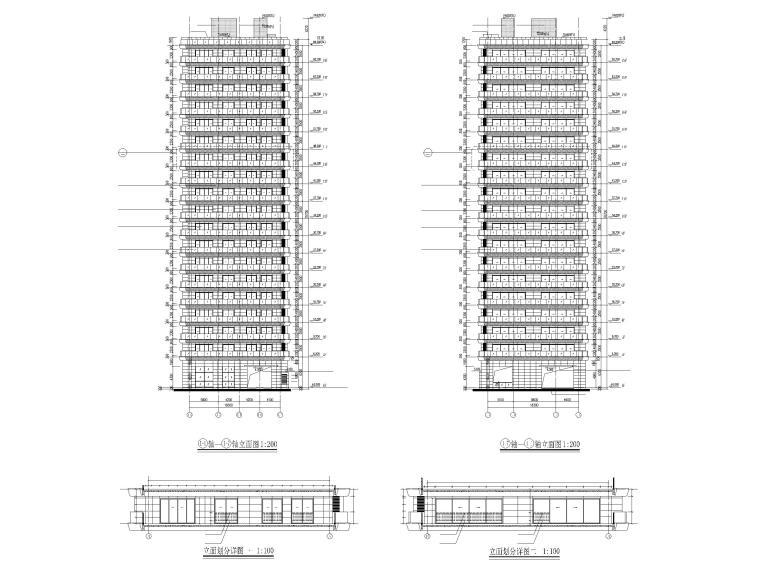 上海船厂十九层高层住宅建筑施工图2017-立面图2