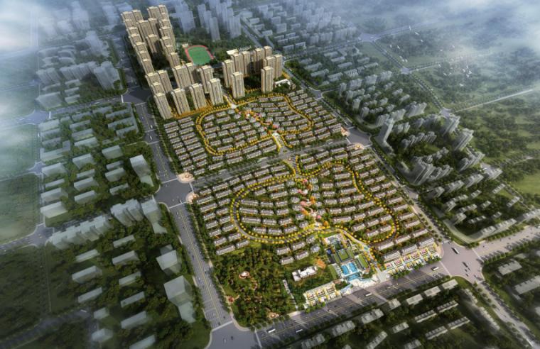 [长沙]金科123亩容积率2.4商住混合用地方案-1-总体鸟瞰图