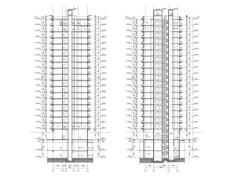 上海船厂十九层高层住宅建筑施工图2017-剖面图