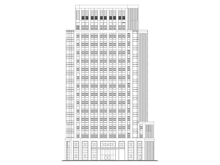 莲湖大厦16层框筒结构办公楼建筑施工图-立面图1