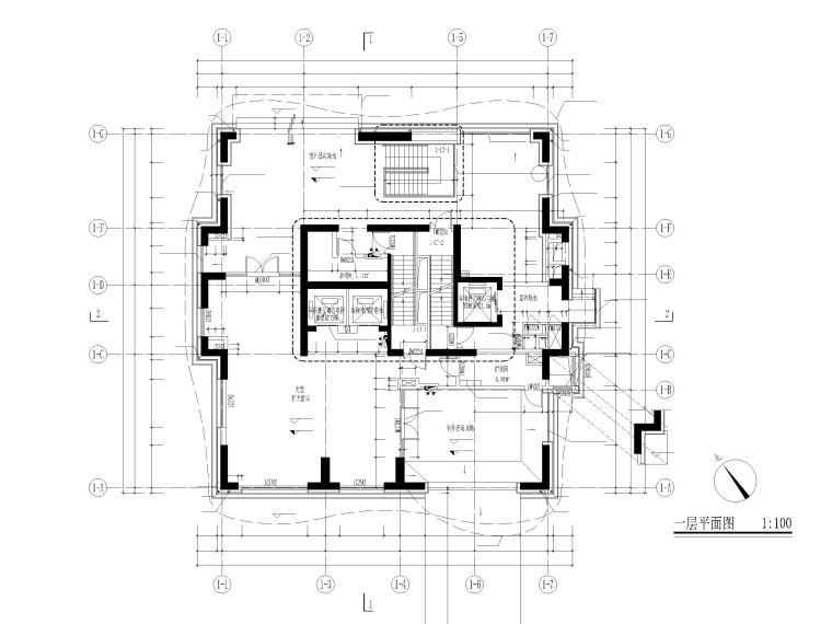 上海船厂十九层高层住宅建筑施工图2017-一层平面图