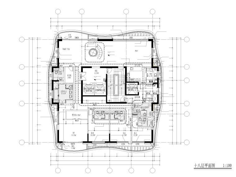 上海船厂十九层高层住宅建筑施工图2017-十八层平面图