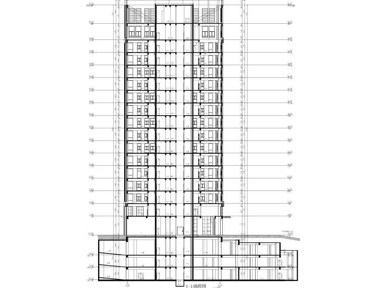 莲湖大厦16层框筒结构办公楼建筑施工图-剖面图