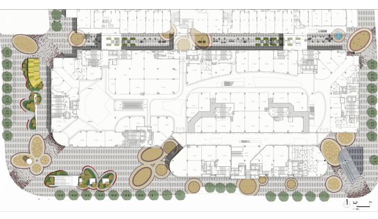 [浙江]杭州商业街广场及屋顶花园景观设计-景观平面图