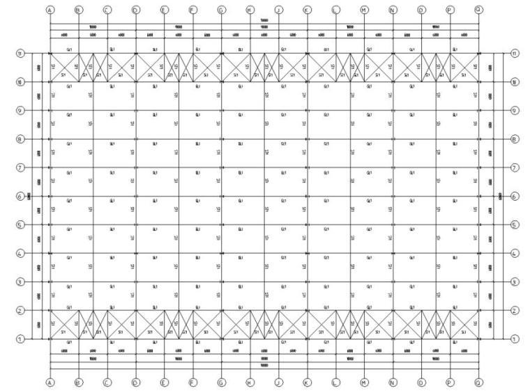 五跨门刚厂房钢结构初设施工图CAD-屋面结构布置图