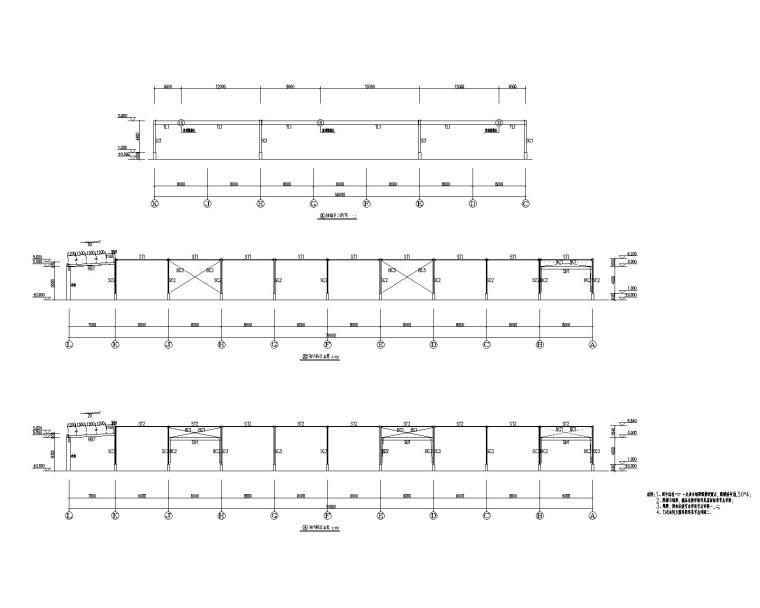 多跨钢结构门刚厂房结构施工图CAD-结构立面图