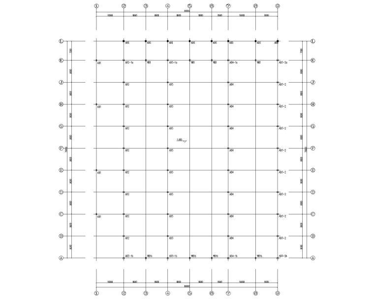 多跨钢结构门刚厂房结构施工图CAD-预埋螺栓布置图