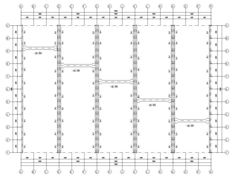 五跨门刚厂房钢结构初设施工图CAD-吊车平面布置