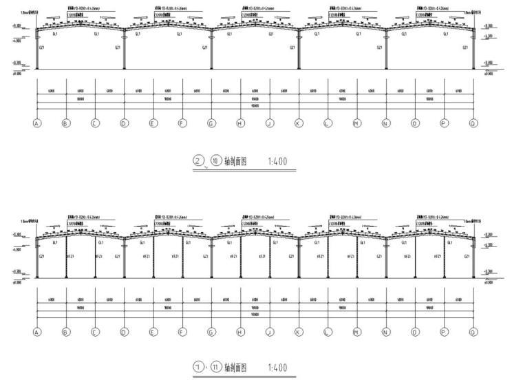 五跨门刚厂房钢结构初设施工图CAD-结构剖面图