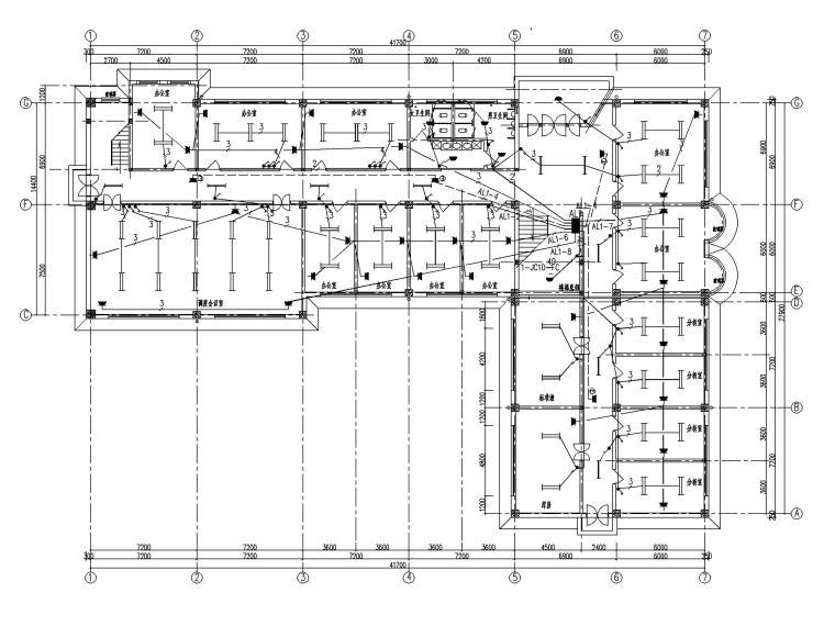 二层办公楼电气施工图-1照明平面图