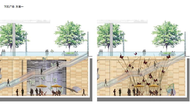 [浙江]杭州商业街广场及屋顶花园景观设计-下沉广场设计
