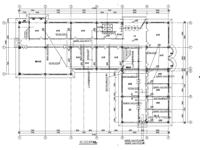 二层办公楼电气施工图-2弱电平面图