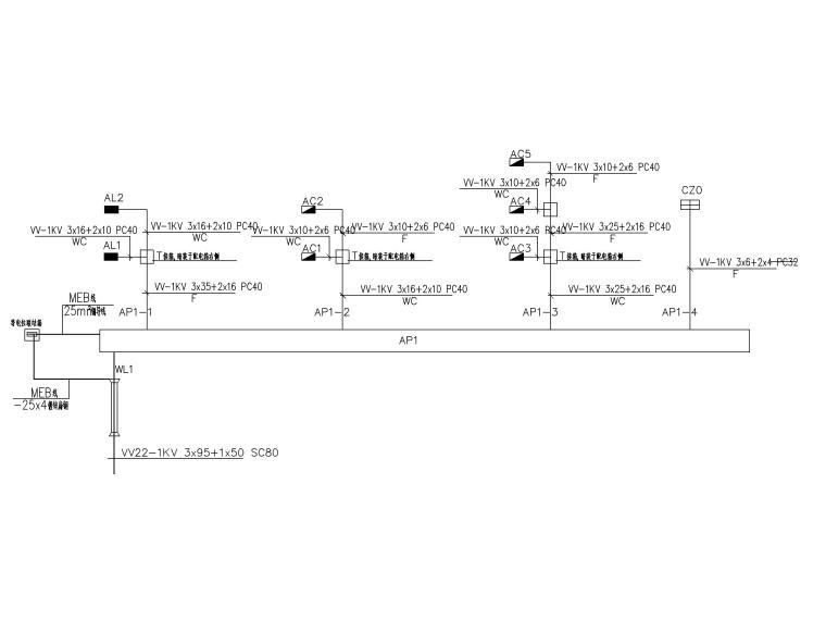 二层办公楼电气施工图-4动力箱连接图