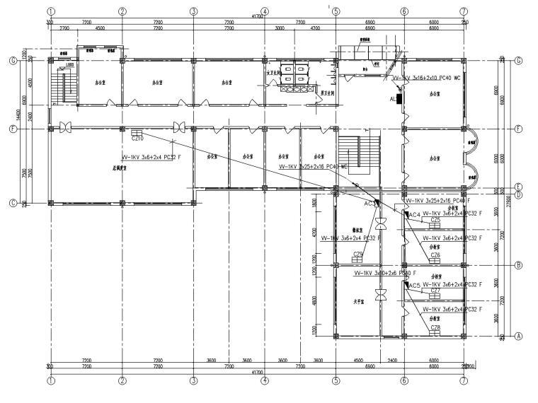二层办公楼电气施工图-3动力平面图