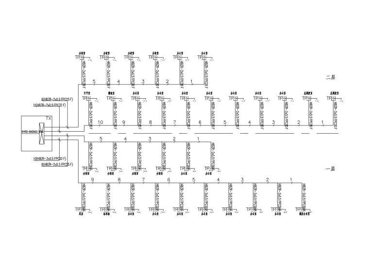 二层办公楼电气施工图-6电话通讯系统图