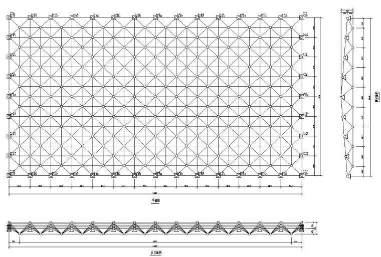 某会议大厅网架结构节点大样施工图CAD-网架平立面图