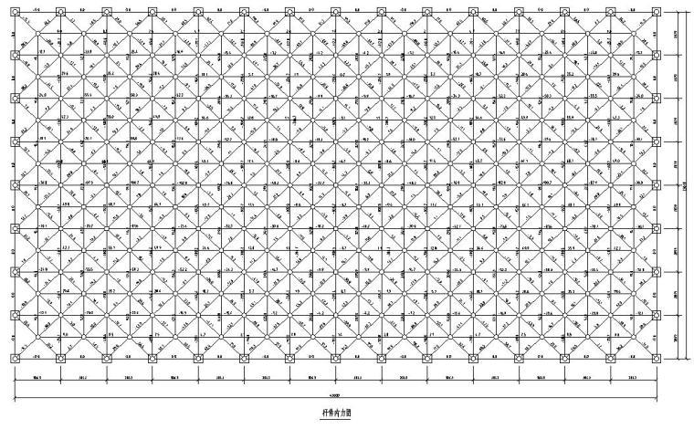 某会议大厅网架结构节点大样施工图CAD-杆件内力图