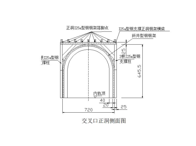 隧道斜井进正洞挑顶施工作业指导书-交叉口正洞侧面图