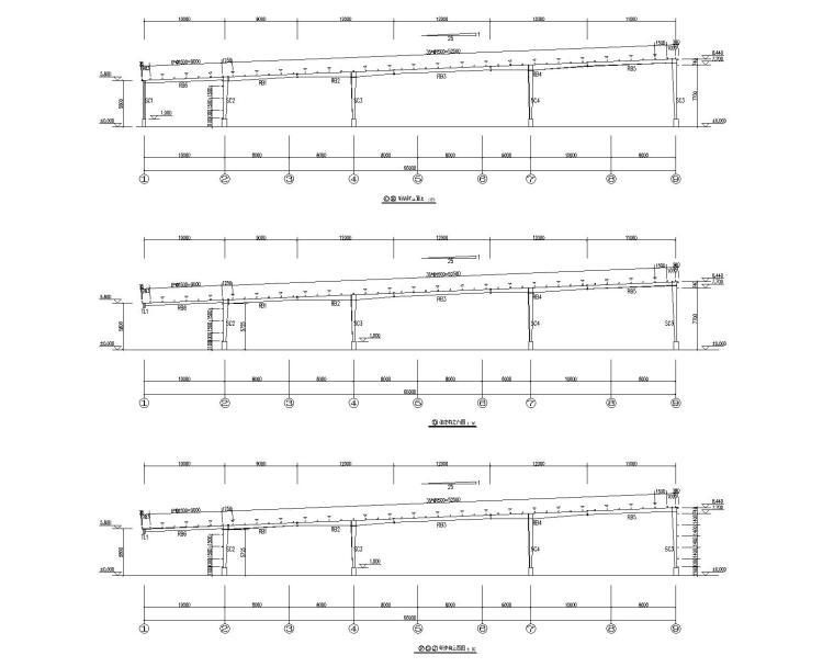 多跨钢结构门刚厂房结构施工图CAD-结构立面图2