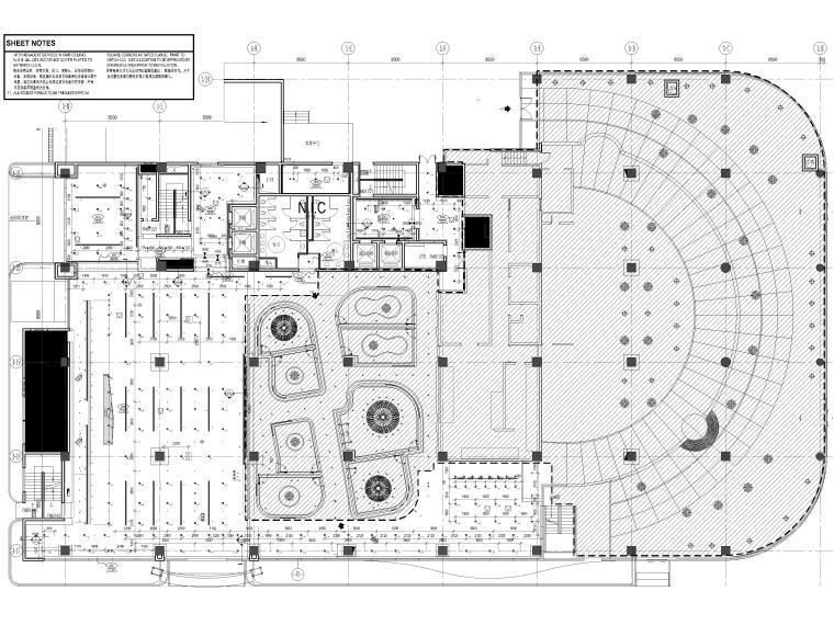 [上海]山鹰国际七层办公空间室内装修施工图-1层反射天花平面图