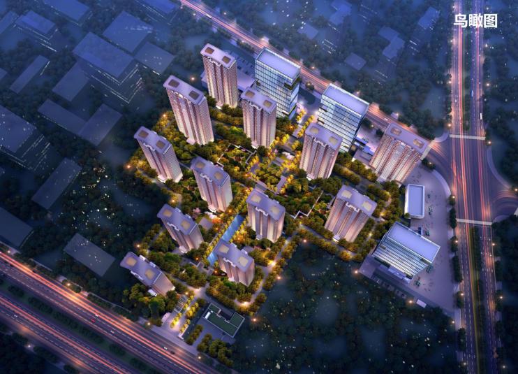 [长沙]金科123亩容积率2.4商住混合用地方案-1-项目鸟瞰图