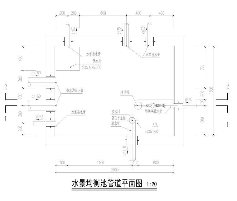 [遂宁]游泳池及水池全套施工图2018-水景均衡池管道平面图