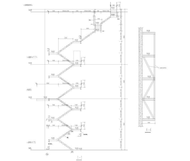 出屋面钢结构楼梯详图(CAD)-出屋面钢梯剖面图