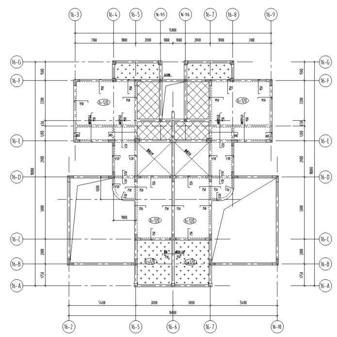 湖北三层异形柱别墅混凝土结构施工图CAD-结构平面图