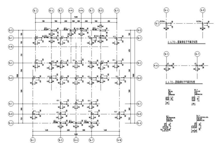 湖北三层异形柱别墅混凝土结构施工图CAD-结构柱布置图