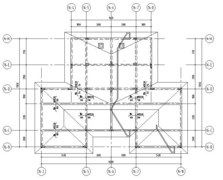 湖北三层异形柱别墅混凝土结构施工图CAD-屋顶布置图