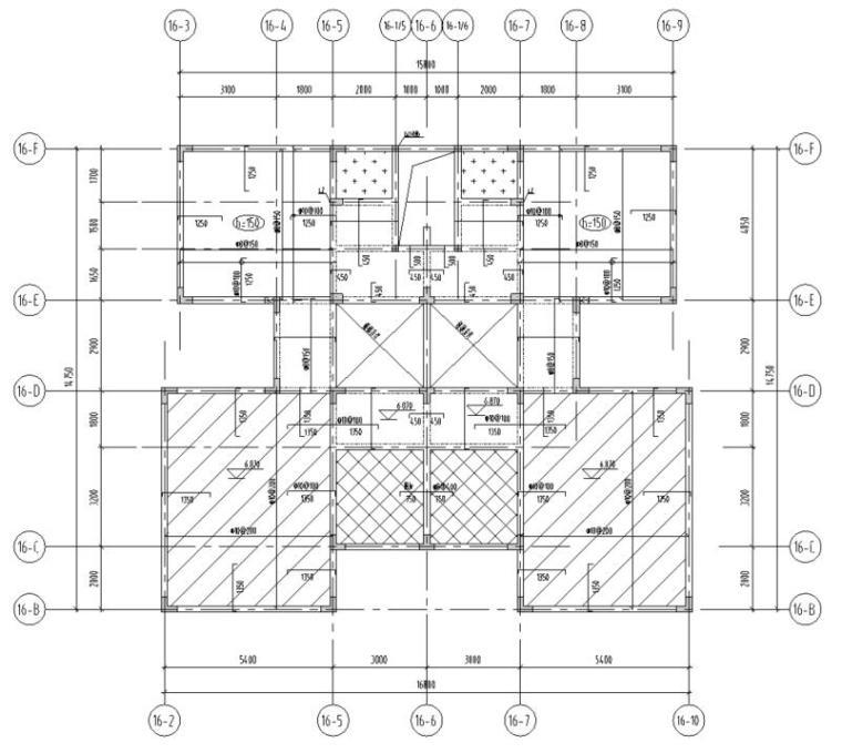 湖北三层异形柱别墅混凝土结构施工图CAD-结构平面图2