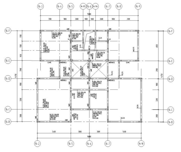 湖北三层异形柱别墅混凝土结构施工图CAD-结构配筋图