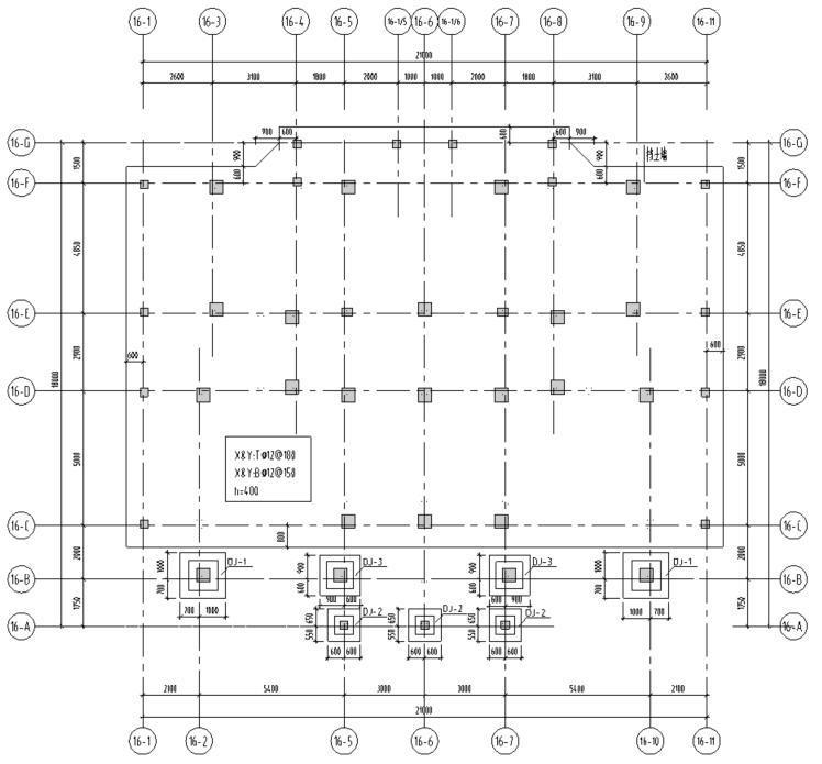 湖北三层异形柱别墅混凝土结构施工图CAD-基础布置图