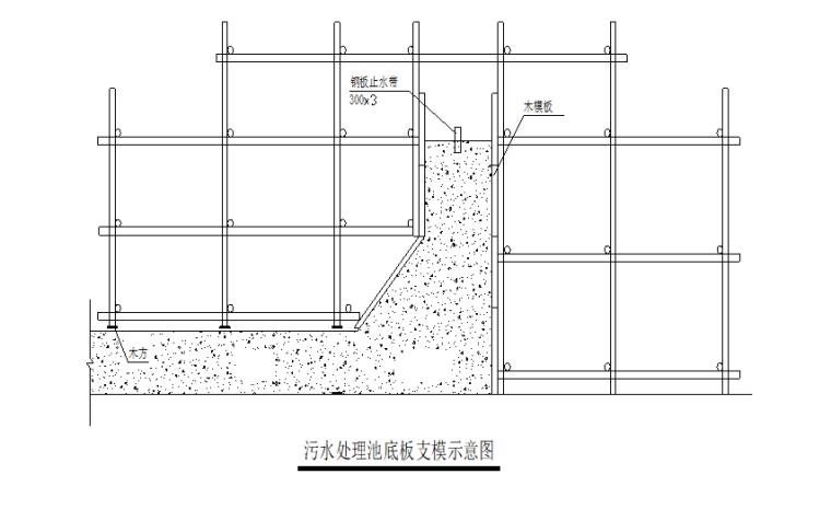 高层办公楼污水处理池施工方案-02 污水处理池底板支模示意图