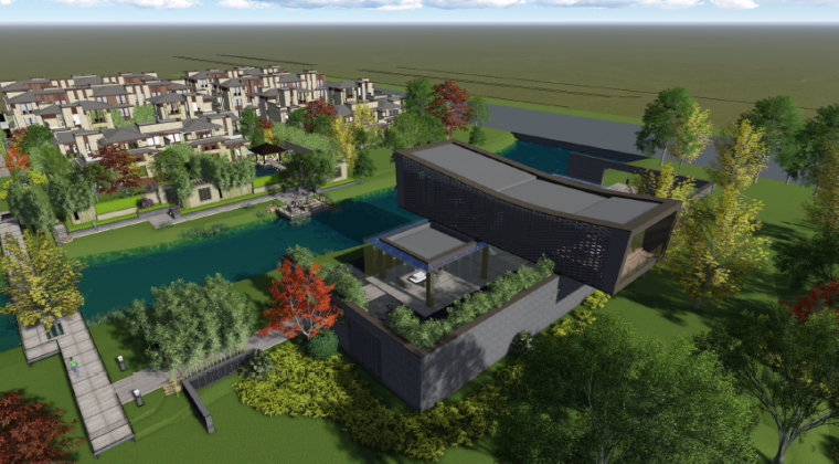 [上海]新中式住宅样板区景观设计方案-鸟瞰图