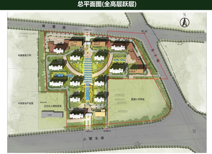 [长沙]金科123亩容积率2.4商住混合用地方案-8-总平面图(全高层跃层)