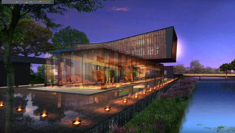 [上海]新中式住宅样板区景观设计方案-会客厅效果图