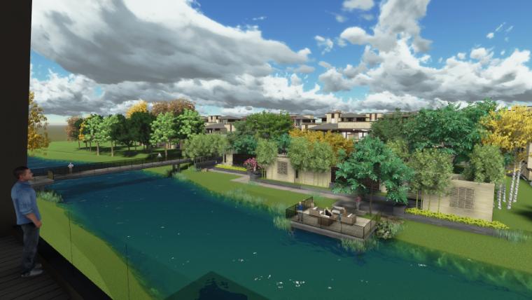 [上海]新中式住宅样板区景观设计方案-滨水区景观效果图