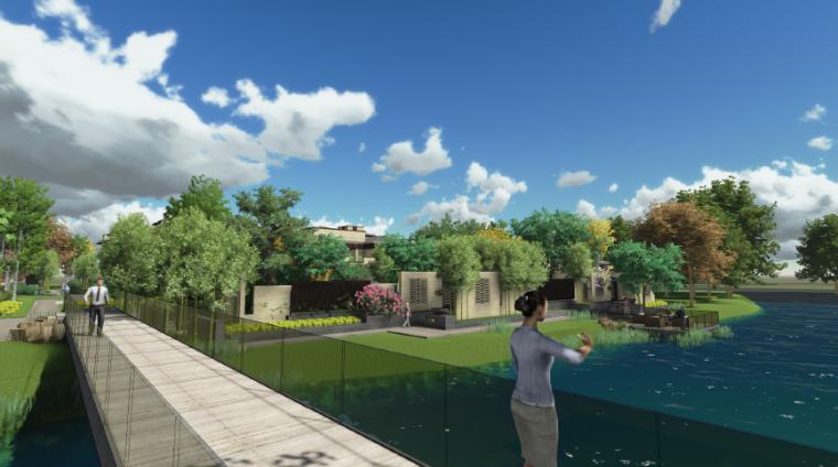 [上海]新中式住宅样板区景观设计方案-庭院空间效果图